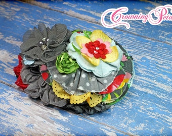 Grey, Red, Green Hair Clip, Headband, M2M  Matilda Jane, Hello Lovely Hair Piece, Saturday Afternoon Top Hair Accessory, Blooming Garland