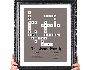 Family Tree Crossword Puzzle, Personalized, 50th Wedding Anniversary, Gift for Mom Dad, Family Tree Print, Family Member Names, 8x10