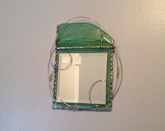 Stained Glass Mirror Wall Decor, Green Glass