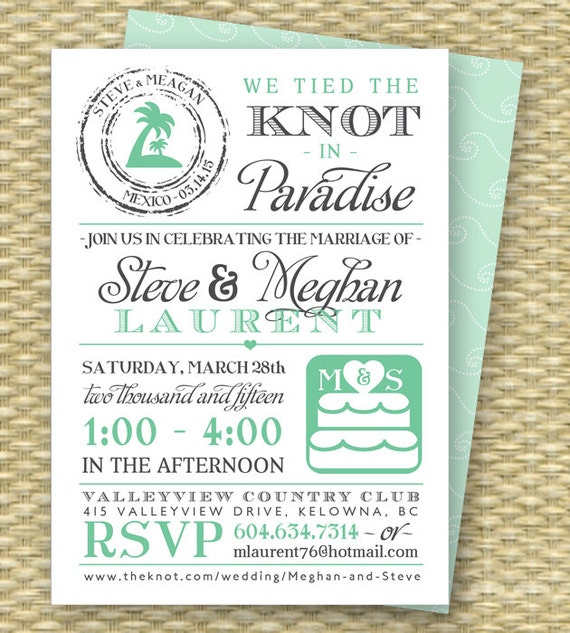 Destination wedding invitation post destination wedding for Destination wedding invitation rsvp etiquette