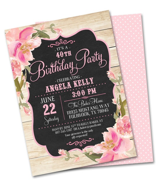 Rustic 40th Birthday Invitation Floral Birthday Invitation Adult