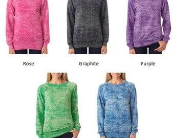 Greek Letter Ladies' Blended Burnout Crewneck Sweatshirts