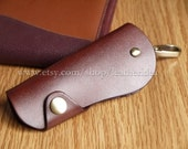 100% Genuine leather Handmade Luxury Leather Key Holder , Wine Red Leather key bag , Car key bag