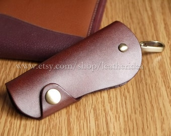 100% Genuine leather Handmade Luxury Leather Key Holder , Wine Red Leather key bag , Car key bag