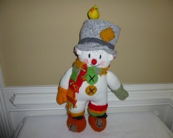 Snowman - Clown - Soft - Hand Knit Toy -
