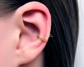 No Piercing Simple Ear Cuff Double Ring Hoop/piercing imitation/fake faux piercing/ear jacket manchette/conch ear wires/ohrklemme ohrclip
