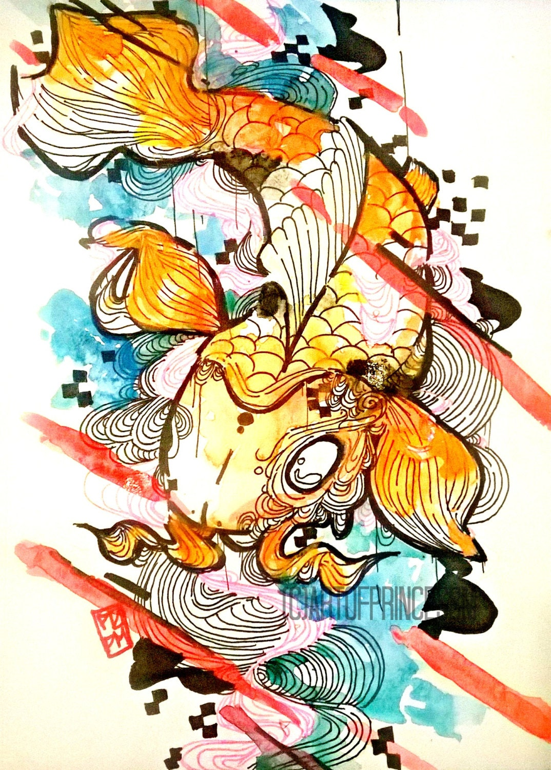 Japanese koi fish art aquatic art small art by artofprincessm for Tiny koi fish
