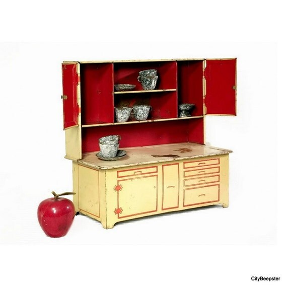 Vintage Tin Toy Kitchen Cabinet Cream Red Rusty Kitsch