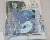 Inspiration pack - Blue Shades D - Fabrics, threads, embellishments, trimmings for mixed media and fabric crafts