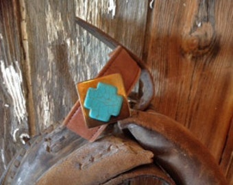Vintage Leather, Brass and Turquoise Bracelet