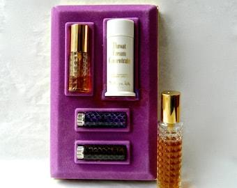 Vintage RITUAL Charles of the Ritz Perfume / Makeup Gift Set Perfume Lipstick Throat Treatment Eye Oil Extra Perfume