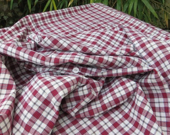 """Free Shipping Duvet Cover  Check Handwoven  Linen Red White   Kelsch  Single Bed Twin Bed Bedlinen  Bedding Blanket Bedspread 67"""" by 69  """""""