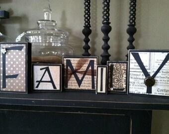 Family Home Decor - Wood Word Blocks Letter Sign