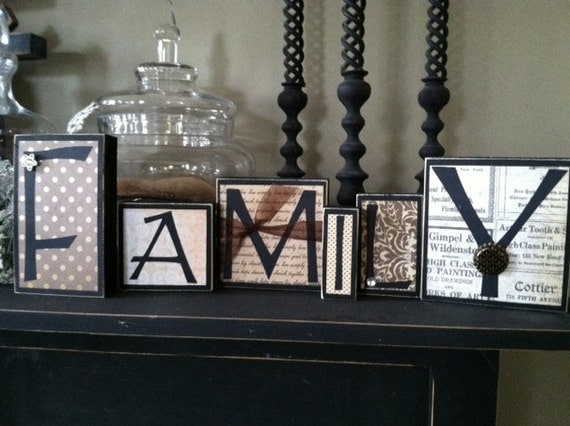 family home decor wood word blocks letter sign by heidi32many blessed word block home decor religious sign
