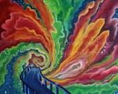 The Bridge of Change Print- Galaxy painting, universe painting, Bridge painting, vortex painting