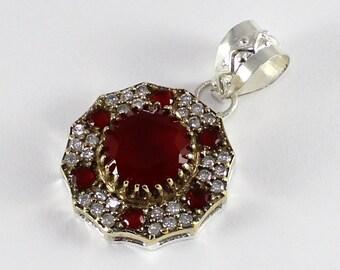 "Turkish Handmade Authentic Ottoman Ruby & Cubic Zirconia Gemstone Vintage Style Pendant Size  1 1/2"" :T503"