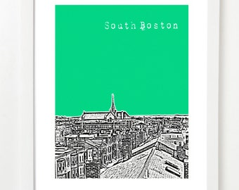 South Boston Massachusetts Poster - Southie Skyline Print - South Boston Art