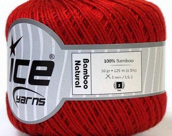 Bamboo Yarn. Natural yarn, Red Summer yarn, bright color yarn, baby yarn, crochet yarn, fine yarn