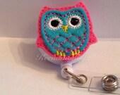 Owl Badge Holder-Aqua and Medium pink-Owl ID Holder-Owl Retractable badge-Owl Lanyard -Owl Badge Reel-Owl ID badge holder