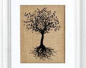 Tree with Roots, Tree Art, Print on Burlap, Nature, Burlap Art, Tree of Life, Wall Decor