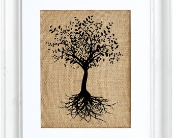 Tree with Roots, Tree Art, Print on Burlap, Nature, Burlap Art, Tree of Life,  Wall Decor