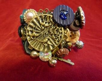 steampunk bracelet stretch bracelet vintage buttons beads and bangles