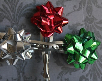 Metallic christmas bow barrettes. Set of 3.