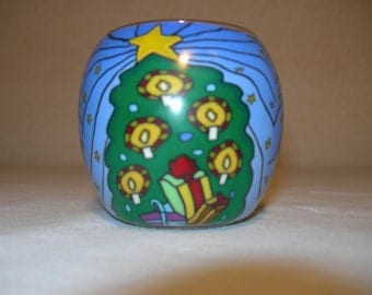 fimo glass votive candle holder (Christmas tree)