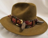 Steampunk Old West Buffalo-Horned Bone/Horn/Copper/Wire/Ribbon Owl Hat Band