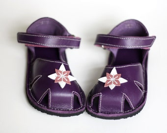 Purple Baby Leather Sandals, Vibram sole, support barefoot walking and for first steps