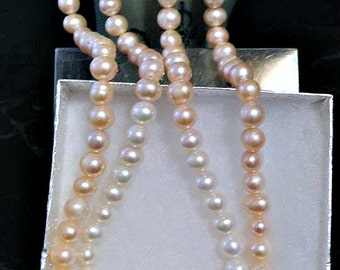 Double Strand Freshwater Pearls pale pink and White