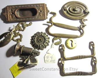 Antique Mixed Lot of Drawer Pulls and Desk Lock Keyholes Parts
