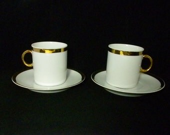 Favolina, White and Gold Small Tea Cups and Saucers, Made in Poland, Set of Two, Espresso Cups