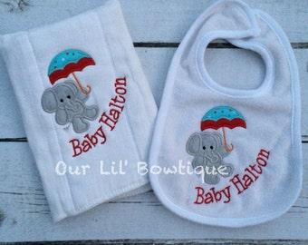 Umbrella Animal Baby - Baby Animal Bib- Personalized Bib -Embroidered Bib - Bib and Burp Cloth Set Personalized Bib - New Baby Gift
