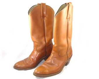 Stunning Frye brown glossy cowboy boots - cognac, broken in classic style heavy leather, 9.5 M ladies shoes