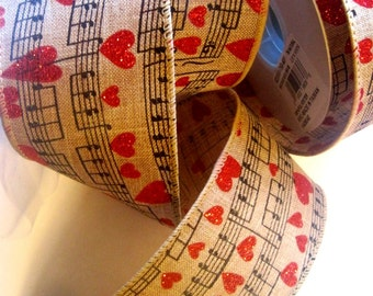 """Heart Music Notes Wired Wide Ribbon, Natural, 2 1/2"""" inch wide, 1 yard For For Gift Packing, Wreaths, Center Pieces, Home Decor"""