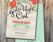 Printable Bachelorette Party Invitation, Floral Girls Night Out, Lingerie Shower, Custom, Double-Sided, Printable