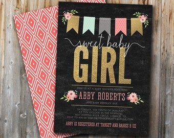 Glitter Girl Baby Shower Invitation, Pink and Gold,  Floral, Invite, Digital