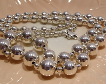 Sterling Silver Graduated Bead Necklace 30 Inches Long