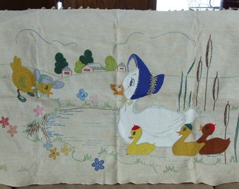 Vintage Felt Applique and Embroidered Mama Duck and Ducklings Wall Hanging