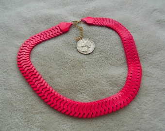 High Fashion Necklace-Hot Pink Serphant Chain-N1490