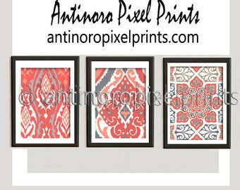 Ikat Damask Corals Grey Wall Art Pictures - Set of (3) - 8x10 Prints -  Custom Color Sizes Available (UNFRAMED) #233082958