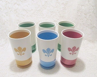 Retro Pacific Plastic Products tumblers multi color lot of 6 drinking glassess