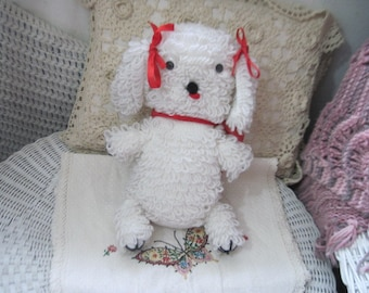 Vintage Yarn Puppy white and red Looped Yarn/CLEARINGOUT25 .Must Be used at check out can not change after paying for item...