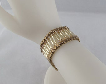 Twisted Bugle Bead Bracelet with Magnetic Clasp in Bronze and Gold