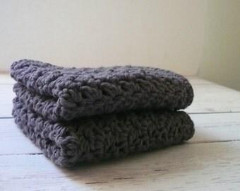 Grey Crochet Dishcloths / Washcloths