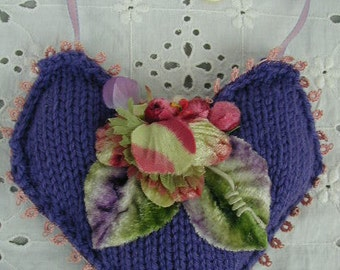 Hand Made Heart Ornament, Door Knob , Hand Knit, Hand Made, Vintage Millinery