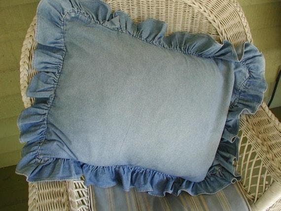 vintage ralph lauren pillow sham medium blue denim ruffled. Black Bedroom Furniture Sets. Home Design Ideas