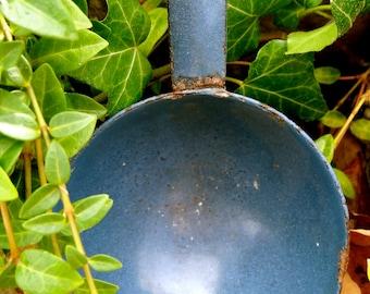 French vintage blue enamel ladle. Paris