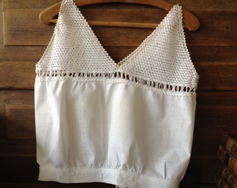 Cotton Crocheted Lace Camisole Ecru Bodice Crop Top Small